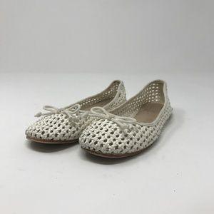 Zara Girls Ballet Flats US 12 White